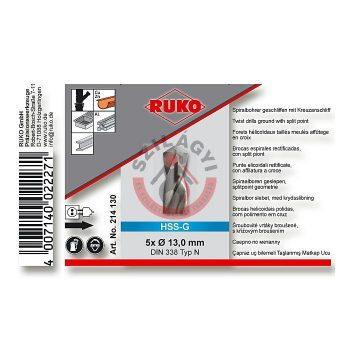 HSS-G fémcsigafúró  13,0  köszörült    DIN 338 RUKO
