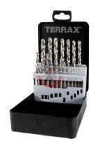 Terrax A214214 Fémcsigafúró készlet HSS-G 1-10 mm 19 részes
