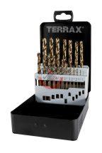 Terrax A215214 Fémcsigafúró készlet HSSE-Co 5%  1-10 mm 19 részes