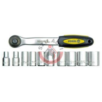 """Dugókulcs készlet racsnis hajtókarral 1/4"""" 11 részes 5-14 mm"""