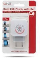 Adapter-2USB-fehér 2.1A
