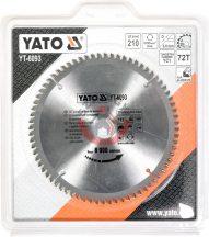 YATO 6093 Vágótárcsa alumíniumra D=210mm d=30mm Z=72