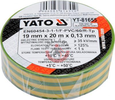 YATO 81655 Szigetelő szalag 20m Sárga/Zöld